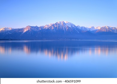 Alps on Lake Geneva at Montreux, Switzerland