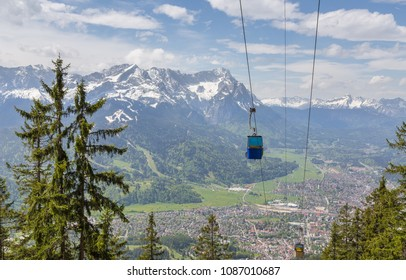 Alps panorama with gondola Garmisch-Partenkirchen Bavaria Germany.