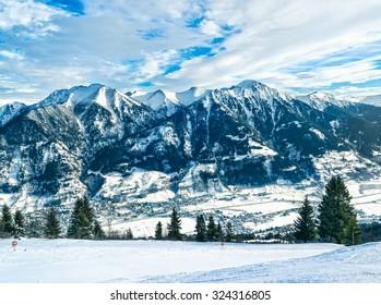 Alps panorama. View to Bad-Gastein, Austria.