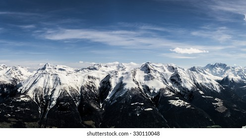 Alps Panorama view from Bettmeralp / Aletsch arena, Grengiols, Switzerland