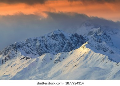 Alps peaks on the sunset time
