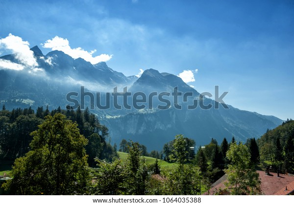 Alps view from Reichenbach Falls view point