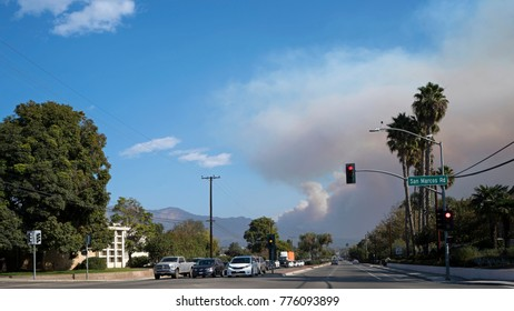 Already the third biggest wildfire in Californian history the Thomas Fire is closing in on Santa Barbara - December 16 2017. Lanes filled by escaping people.