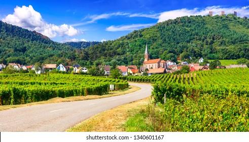 "Alsace region of France - famous ""Vine route"" . beautiful vineya"