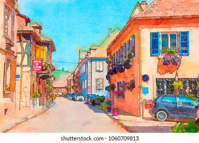 Alsace region, watercolor style