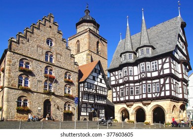 ALSFELD, GERMANY - SEPTEMBER 30, 2012: Town Hall, Weinhaus and Walpurgiskirche. The town is known for its Altstadt, the historic medieval town centre, with its historic buildings.