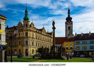 Alsovo square with Marian column in Czech town of Pisek. High quality photo - Shutterstock ID 1924832999
