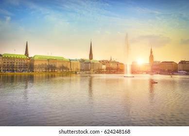 Alster Lake in evening light at sunset, Hamburg, Germany