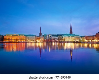 Alster Lake and night city. Hamburg