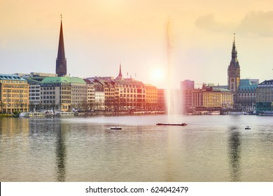 Alster Lake at sunset, Hamburg, Germany