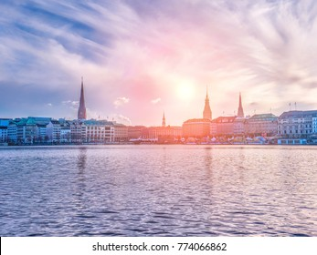 Alster Lake and winter panorama of Hamburg city