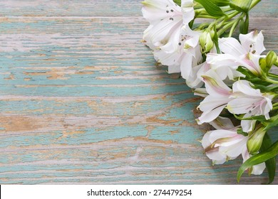 Alstroemeria flower commonly called the Peruvian lily or lily of the Incas. Wooden background, copy space