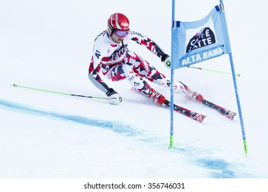 Alta Badia, Italy 20 December 2015.  SCHWARZ Marco (Aut) competing in the Audi Fis Alpine Skiing World Cup Men'??s Giant Slalom on the Gran Risa Course in the dolomite mountain range.
