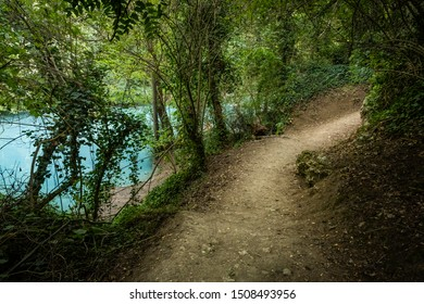 Alta Val d'Elsa river park, the trail starts in Gracciano Colle Val d'Elsa (Siena, Tuscany) the river's waters are clear and of an intense turquoise color and are part of a protected natural area
