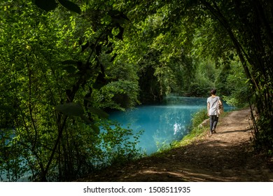 Alta Val d'Elsa river park, the trail starts in Gracciano and reaches in Colle Val d'Elsa (Siena, Tuscany) the river's waters are clear and of an intense turquoise color