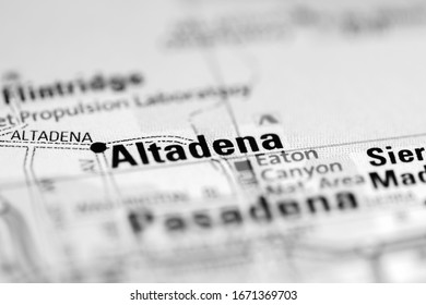 Altadena. California. USA on a geography map