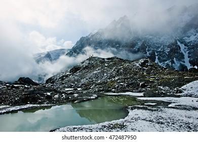 Altai, Aktru canyon, glacier,  People in the mountains