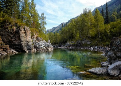 Altai landmark and beauty place Girlish Reaches on mountain river  Kumir