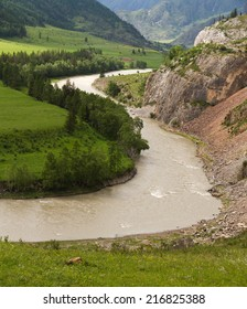 The Altai landscape (Russia) with a valley and river Katun among mountains and rocks.