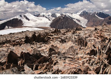 altai mountain rocks glacier snow
