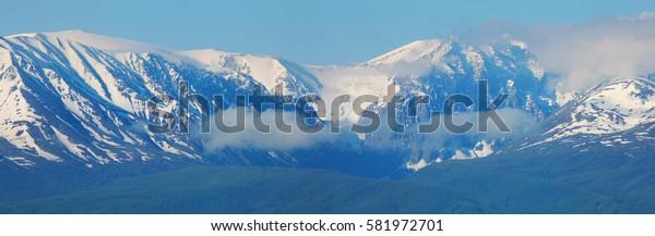 Altai Mountains on a summer morning, Aktru