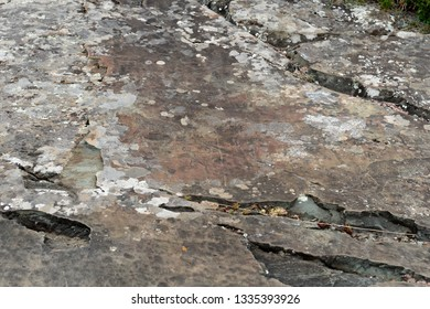 ALTAI REPUBLIC, RUSSIA - JUNE 8, 2018: Rock petroglyphs in the tract Kalbak-Tash. Petroglyphs of different historical periods: from the Neolithic to the ancient Turkic era
