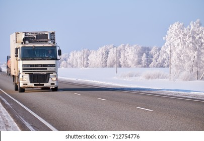 ALTAI, RUSSIA - JANUARY 18, 2017: DAF truck on road M52 Chuysky Tract in winter season