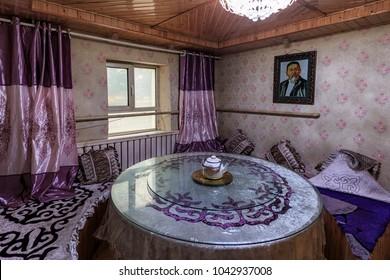 Altai, Xinjiang - February 15, 2018: Interior of a Hasake house, one of the 56 ethnic minorities in China.