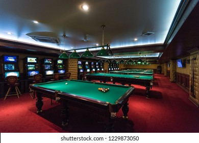 ALTAISKIY KRAI. WESTERN SIBERIA. RUSSIA - SEPTEMBER 14, 2018 : Billiard zone in casino in one of the gambling zone Siberian coin. Altaiskiy Krai. Western Siberia. Russia