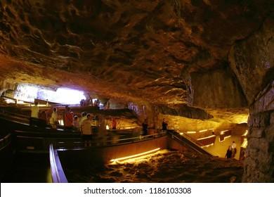 ALTAMIRA, CANTABRIA, SPAIN, JULY 29, 2018: Interior virew of Altamira Museum Cave, Cantabria, Spain, Europe