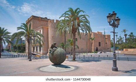 Altamira Castle in Elche, Spain, June 26, 2017. Located next to the Municipal Park.  It was originally built in 12th-13th centuries, and was later renovated with brick exterior in the 15th century.