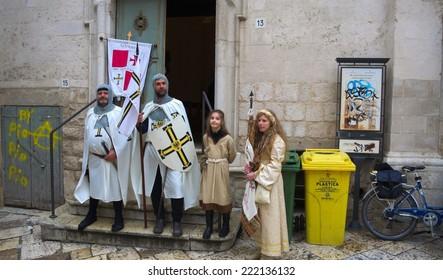 ALTAMURA, ITALY, APRIL 28, 2014: People are enjoying festival called fredericus in italian city altamura.