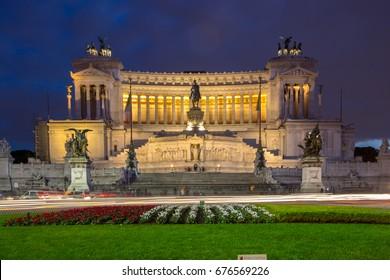 Altar of the Fatherland (Altare della Patria) 1925. Piazza Venezia . Vittorio Emanuele II in Rome, Italy