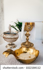 Altar and liturgy with holy bread and wine