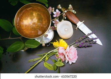 An altar set for the Pagan spring festival, Beltane.