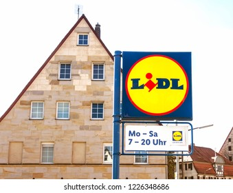 Altdorf bei Nuremberg , GERMANY, SEP 8, 2018: LIDL Supermarket Chain Sign - LIDL is a German global discount supermarket chain, based in Neckarsulm, Germany, that operates over 10,000 stores across EU