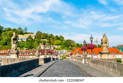 Alte Mainbrucke, the old bridge across the Main river in Wurzburg - Bavaria, Germany