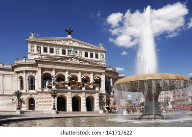 Alte Oper Frankfurt on a summer day. The building was opened 1880, designed by the native Berliner architekt Richard Lucae and financed by Frankfurts citizens