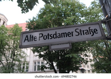 Alte Potsdamer Strasse street name sign. The place is the new modern city center and financial district of Berlin