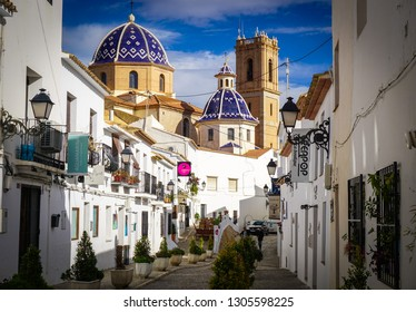 ALTEA, SPAIN - FEBRUARY 2, 2019: Streets and views of the old town of Altea