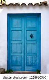 Altea white village blue door in Alicante at Mediterranean Spain