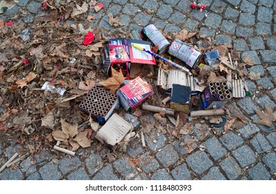 Altenburg / Germany - January 2017: Remnants of fireworks and packagings spoil the streets after the traditional new years celebration