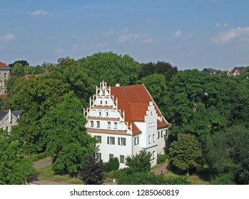 Altenburg / Germany: The registry office of the former city of residence in an impressive Renaissance style building with a decorative corbie step gable