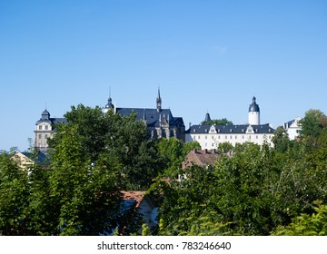 Altenburg / Germany: View over the green city district of Naschhausen to the impressive residence castle