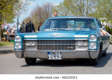 ALTENTREPTOW / GERMANY - MAY 1, 2016: Cadillac Coupe de Ville  drives on street at an oldtimer show in altentreptow / germany on may 1, 2016.