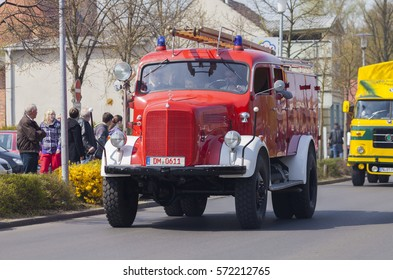 ALTENTREPTOW / GERMANY   MAY 1, 2016: German Mercedes Benz Fire Truck  Oldtimer Drives