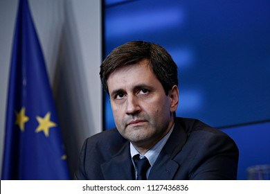 Alternate minister of finance George Chouliarakis gives a press conference after the Eurogroup finance ministers meeting at the European Council in Luxembourg on June 22, 2018