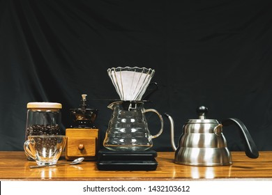 Alternating filter manual brewing of coffee close up.
