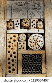 Alternative bee hive elaborately carved out of wood