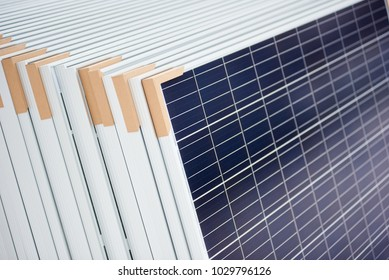 Alternative electricity source. Stack of photovoltaic solar panels. Renewable energy production modules blue modern sustainable resources ecological power plant